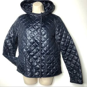 J. Crew navy quilted double breasted Puffer M A9